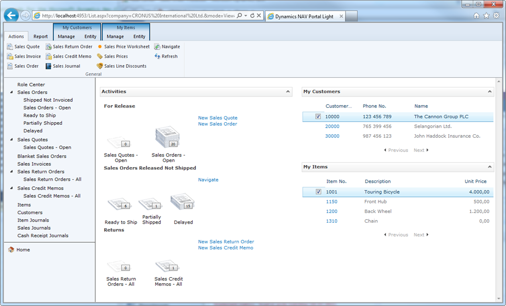 Pantalla Microsoft Dynamics NAV 2013